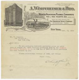 A. Wimpfheimer & Bro.. Letter - Recto