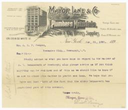 Mayor, Lane & Co.. Letter - Recto