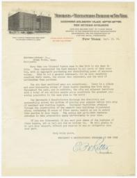 Merchants and Manufacturers Exchange of New York. Letter - Recto