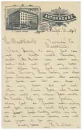 Astor House. Letter - Recto
