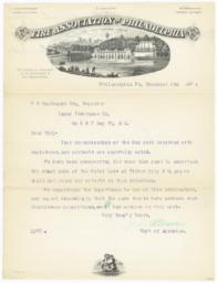 Fire Association of Philadelphia. Letter - Recto
