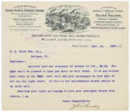 William Lucas. Letter - Recto