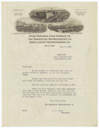 Union Terminal Cold Storage Co.. Letter - Recto