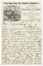 New York Oil Cabinet Company. Letter - Recto