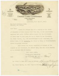 United Cork Companies. Letter - Recto