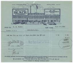 William Black & Company. Bill - Recto
