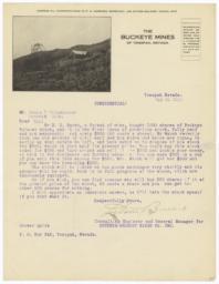 Buckeye Mines. Letter - Recto