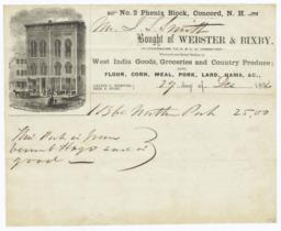 Webster & Bixby. Bill - Recto