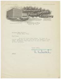 Minneapolis Iron Store Company. Letter - Recto