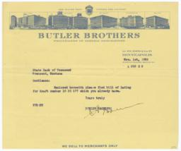 Butler Brothers. Letter - Recto