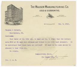 Mauser Manufacturing Co.. Letter - Recto