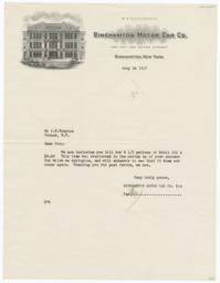 Binghamton Motor Car Co.. Letter - Recto