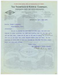 Thompson & Norris Company. Letter - Verso
