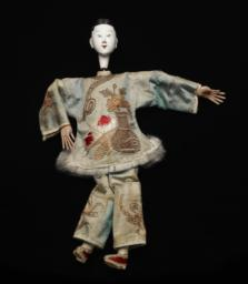 Chinese Female Figurine With Green Robe And White, Painted Face
