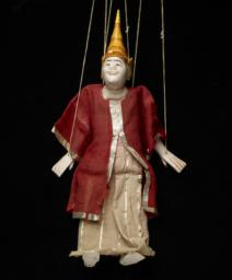 Burmese Marionette Of Male With White Face And Red Robe