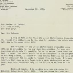 Letter: 1930 December 18