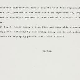 Memorandum: 1952 October 30