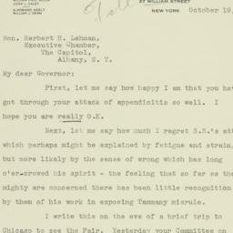 Letter: 1933 October 19