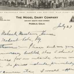 Model Dairy Company. Letter