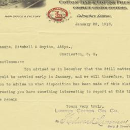 Lummus Cotton Gin Co.. Letter