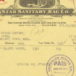 Star Sanitary Rag Co.. Bill