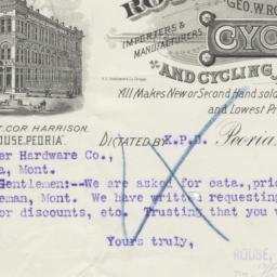 Rouse, Hazard & Co.. Letter