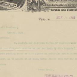 Peru Electric Mfg. Co.. Letter