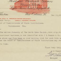 J. B. Camors & Company. Letter