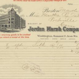 Jordan Marsh Company. Bill
