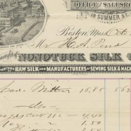 Nonotuck Silk Company. Bill