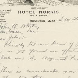 Hotel Norris. Letter
