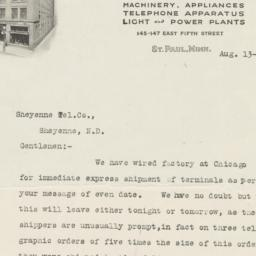 St. Paul Electric Co.. Letter