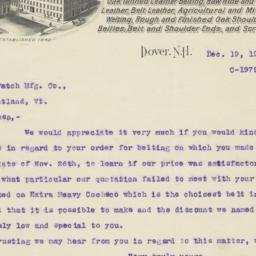 I. B. Williams & Sons. Letter