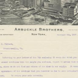 Arbuckle Bros.. Letter