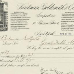 Hartman, Goldsmith & Co.. Bill