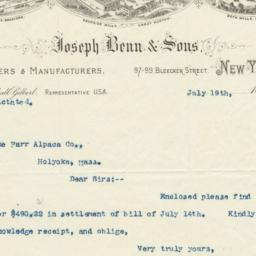 Joseph Benn & Sons. Letter