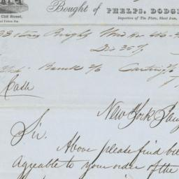 Phelps, Dodge & Co.. Letter