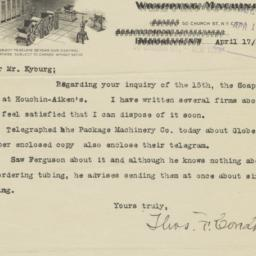 Thos. F. Condon & Co.. Letter