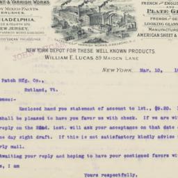William Lucas. Letter