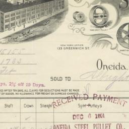 Oneida Steel Pulley Co.. Bill