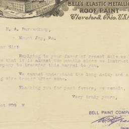 Bell Paint Co.. Letter