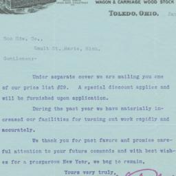 Toledo Bending Co.. Letter