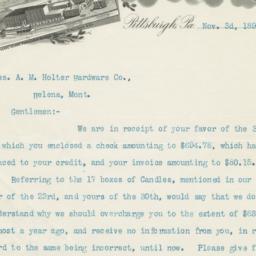 W. & H. Walker. Letter