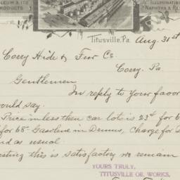 Titusville Oil Works. Letter