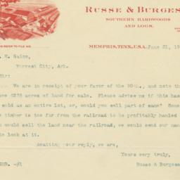 Russ & Burgess. Letter