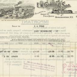 E. W. Conklin & Son. Bill