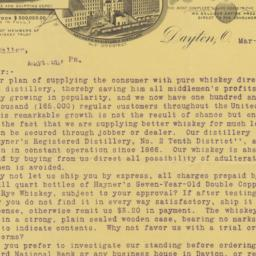 Hayner Distilling Co.. Letter