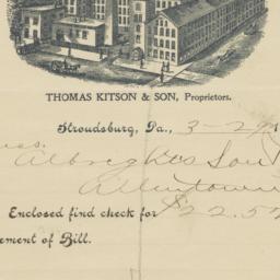 Thomas Kitson & Son. Letter