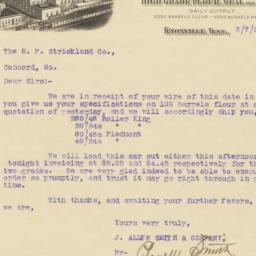 Knoxville City Mills. Letter