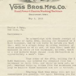 Voss Bros. Mfg. Co.. Letter